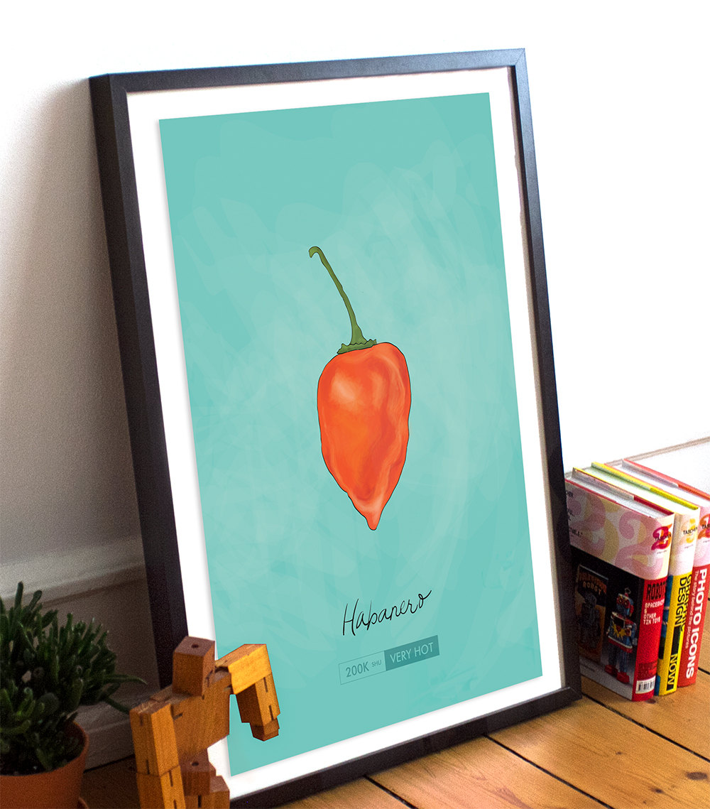 Habanero Chili Pepper Kitchen Giclee Art Print Cotton Canvas And
