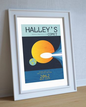 Halley's Comet Minimalist Art Print Science & Astro Physics Illustration Geekery Poster Cotton Canvas and Paper Canvas Wall Decor