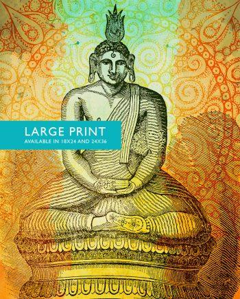"Hindu Gautama or Buddha Print Vintage Hindu Decor Wall Art- Giclee Print 18x24"" 24x36"" - Large Giclee Print on Cotton Canvas and Satin Paper"