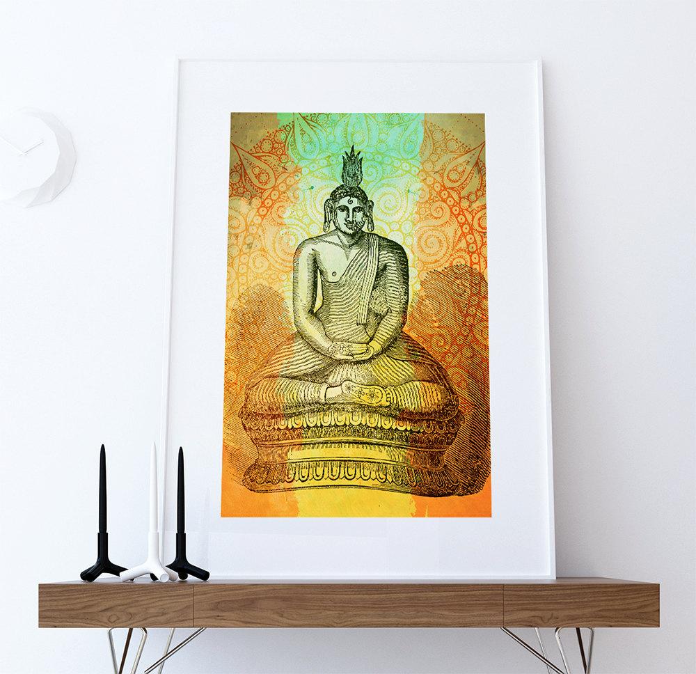 Hindu Gautama or Buddha Print Vintage Hindu Decor Wall Art- Giclee ...