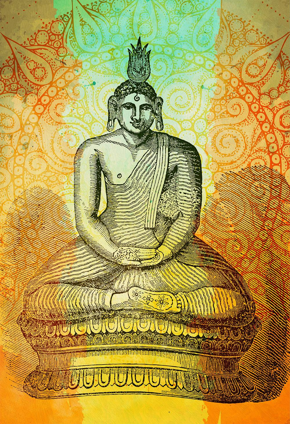 Hindu Gautama or Buddha Print Vintage Hindu Decor Wall Art – Giclee ...