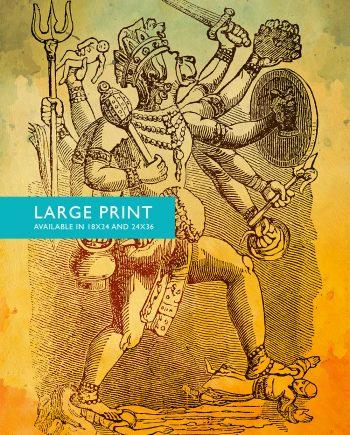"Hindu God Hanuman Print Vintage Hindu Decor Wall Art- Giclee Print 18x24"" 24x36"" - Large Giclee Print on Cotton Canvas and Satin Paper"