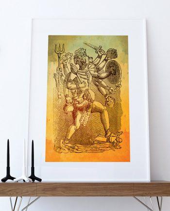 Hindu God Hanuman Print Vintage Hindu Decor Wall Art - Giclee Print on Cotton Canvas and Paper Canvas