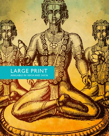 "Hindu God Vishnu Print Vintage Hindu Decor Wall Art - Giclee Print 18x24"" 24x36"" - Large Giclee Print on Cotton Canvas and Satin Paper"