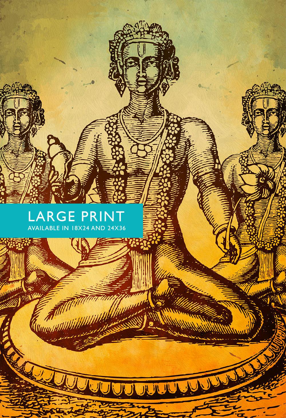 Hindu God Vishnu Print Vintage Hindu Decor Wall Art – Giclee Print ...