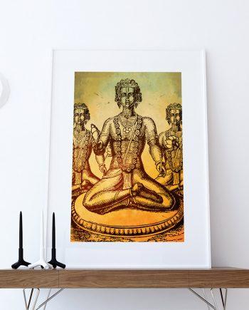 Hindu God Vishnu Print Vintage Hindu Decor Wall Art - Giclee Print on Cotton Canvas and Paper Canvas