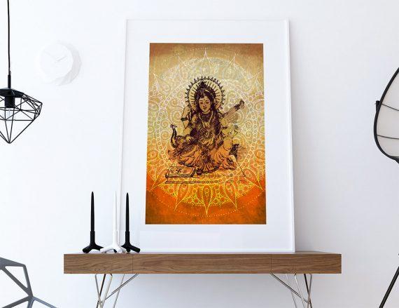 "Hindu Godess Saraswati Print Vintage Hindu Decor Wall Art - Giclee Print 18x24"" 24x36"" - Large Giclee Print on Cotton Canvas and Satin Paper"