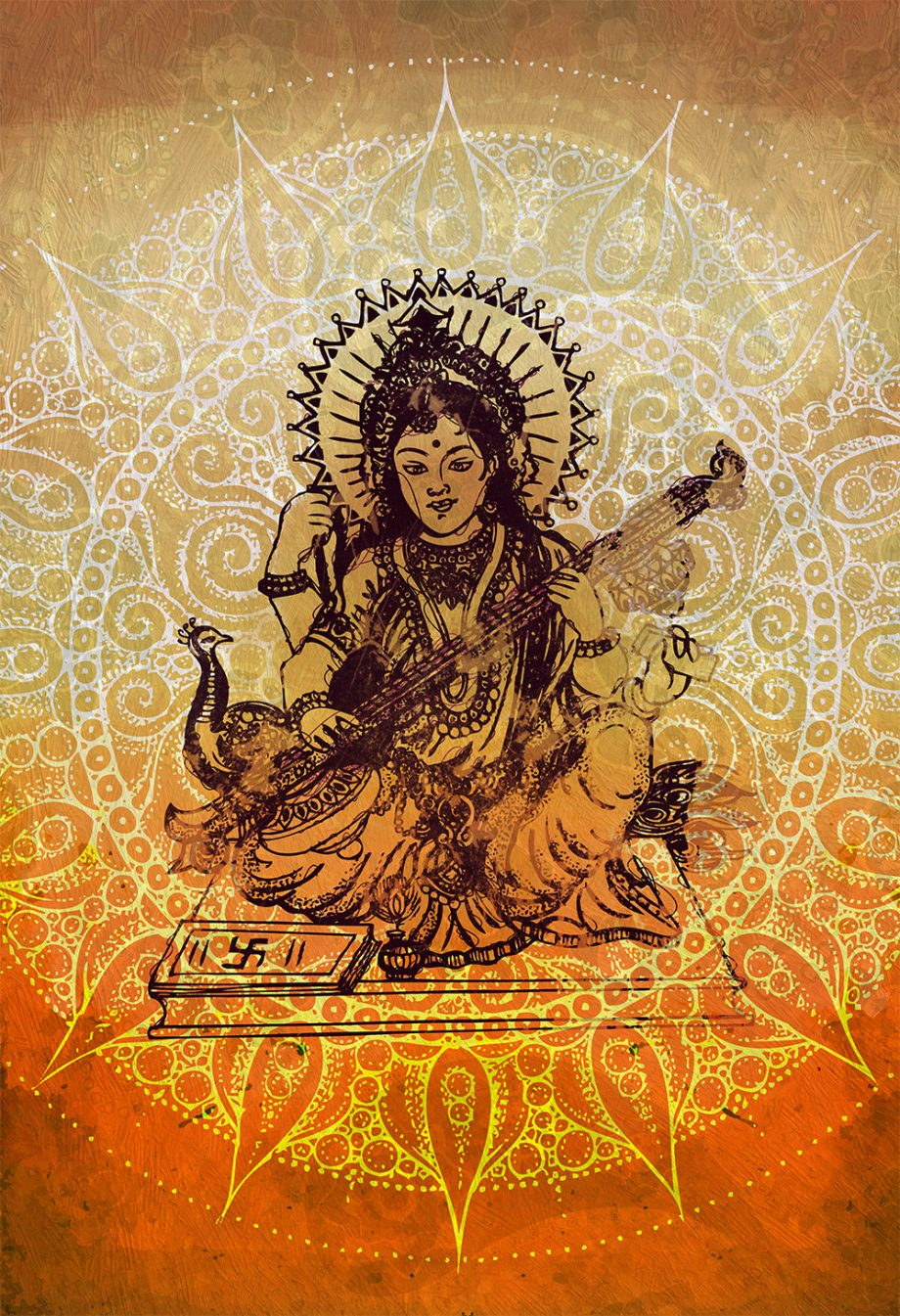"Hindu Godess Saraswati Print Vintage Hindu Decor Wall Art - Giclee Print 18x24"" 24x36"" - Large Giclee Print on Cotton Canvas and Satin Paper"