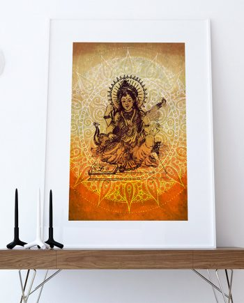 Hindu Godess Saraswati Print Vintage Hindu Decor Wall Art - Giclee Print on Cotton Canvas and Paper Canvas