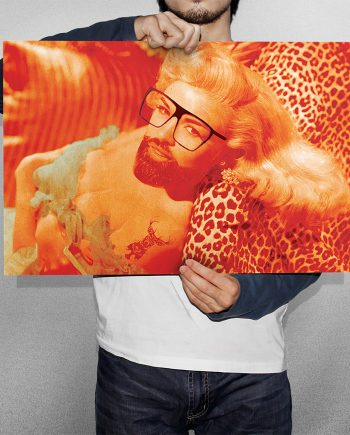 Hipster Beard Pin-Up Jayne Mansfield Pop Art print Illustration Art Print Giclee on Cotton Canvas and Paper Canvas Poster Wall Decor