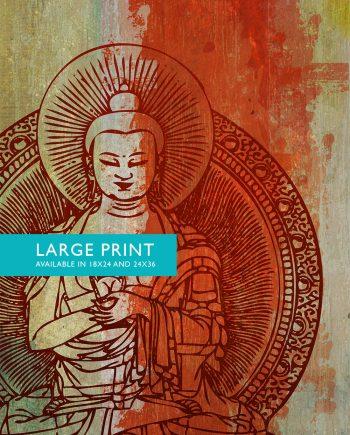 "Indian Budha Print Vintage Hindu Decor Budhist Wall Art - Giclee Print 18x24"" 24x36"" - Large Giclee Print on Cotton Canvas and Satin Paper"