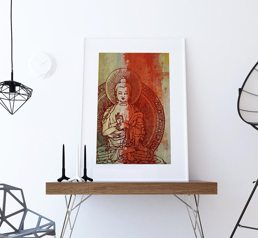 Hindu Poster Art: Indian Budha Print Vintage Hindu Decor Budhist Wall Art