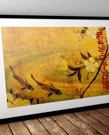 Japanese Koi Carp Illustration Art Print Vintage Giclee on Cotton Canvas or Paper Canvas Poster Wall Decor