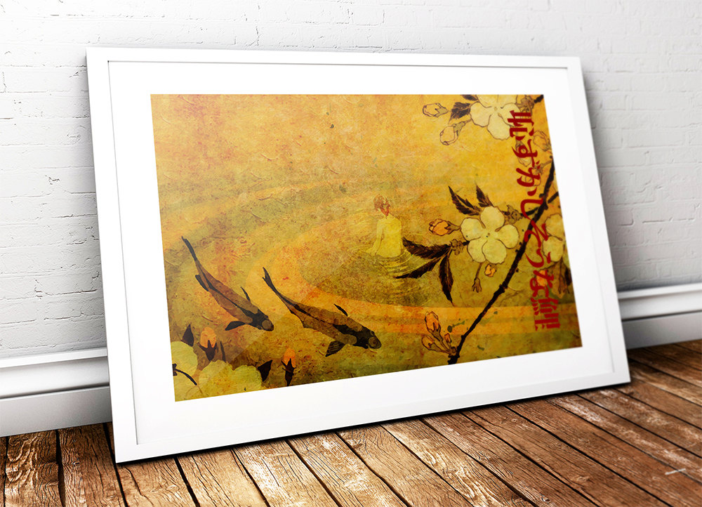 Japanese Koi Carp Illustration Art Print Vintage Giclee on Cotton ...