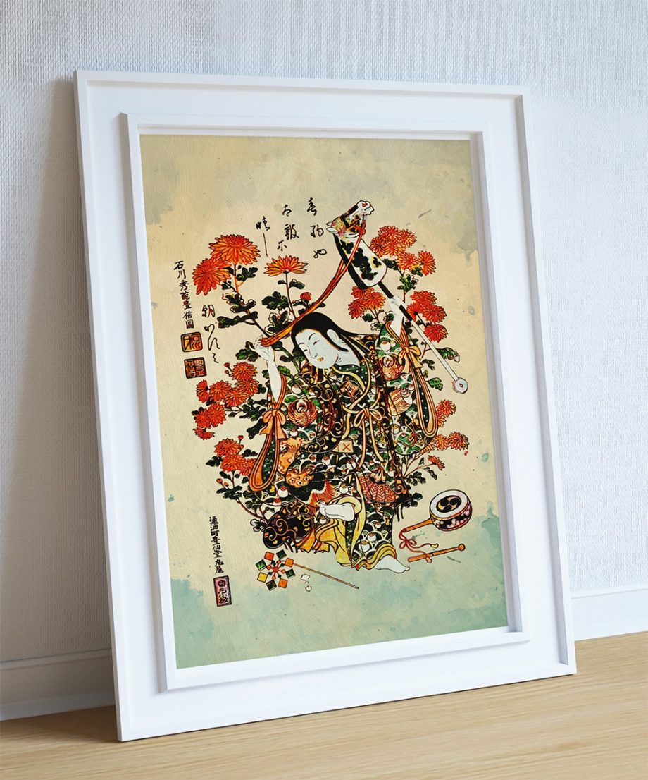 Japanese Print Art Vintage Wood Block Print on Cotton Canvas and Paper Canvas Poster - Wall Art