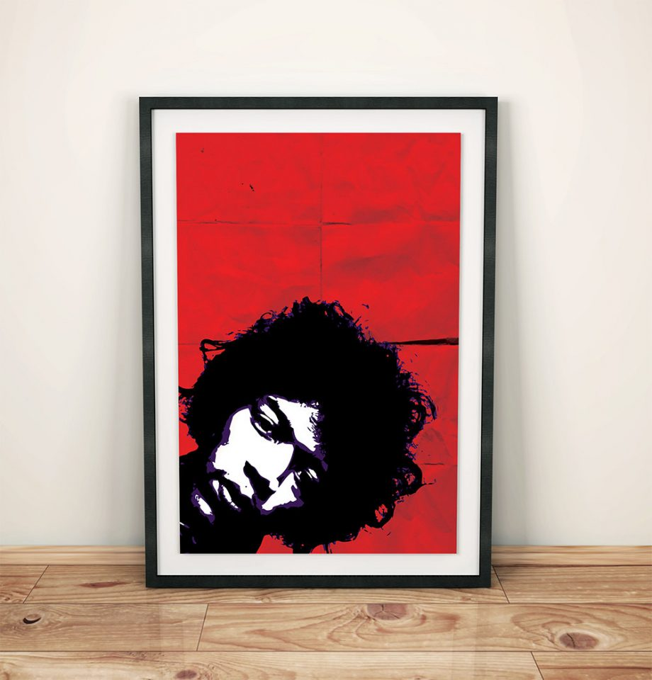 Jimi Hendrix Poster Retro Illustration Art Print Rock Poster Vintage Giclee on Cotton Canvas or Paper Canvas Wall Decor