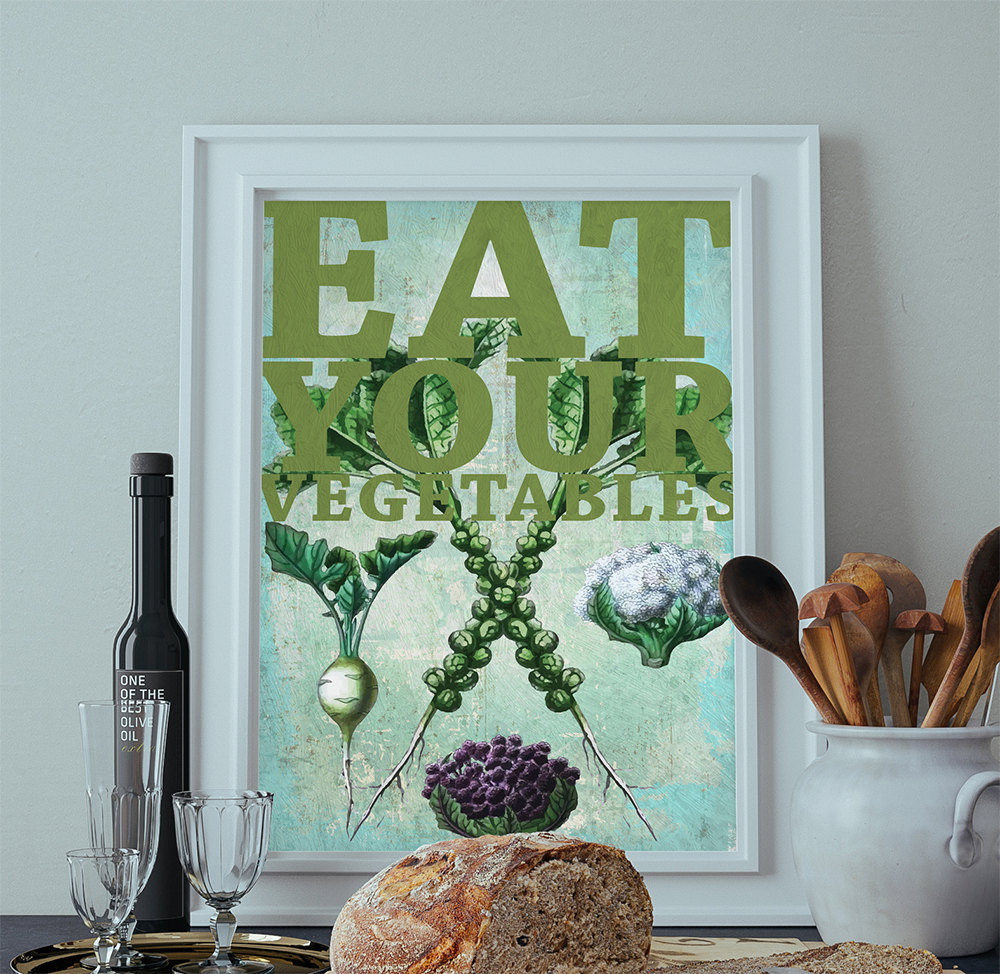 Kitchen Print Brussels Sprouts, Cauliflower, Turnip Art Rustic ...