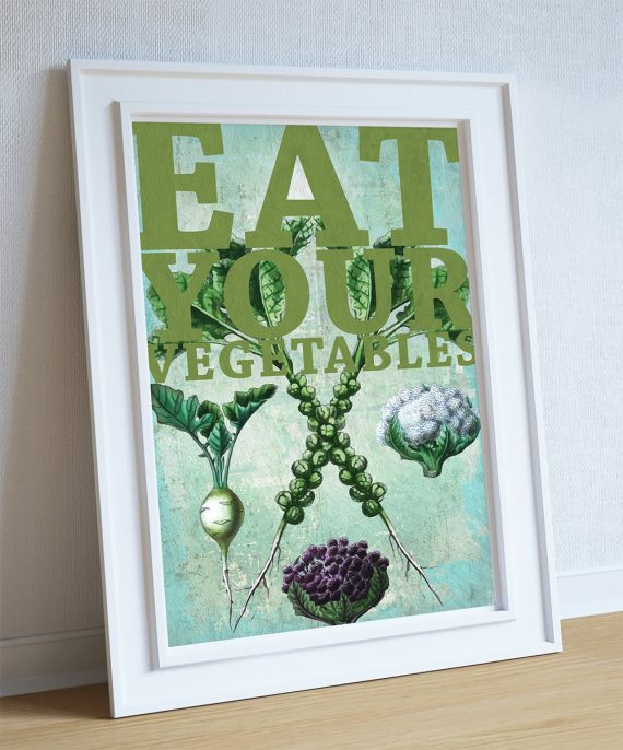 Kitchen Print Brussels Sprouts, Cauliflower, Turnip Art Rustic Kitchen Farmhouse Print on Cotton Canvas and Paper Canvas Poster - Wall Art