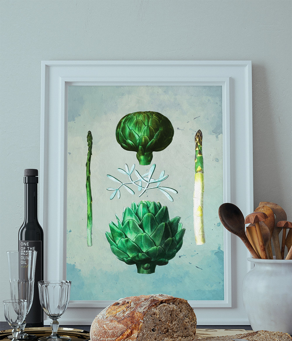 Kitchen print kitchen decor artichoke asparagus art for Artichoke decoration