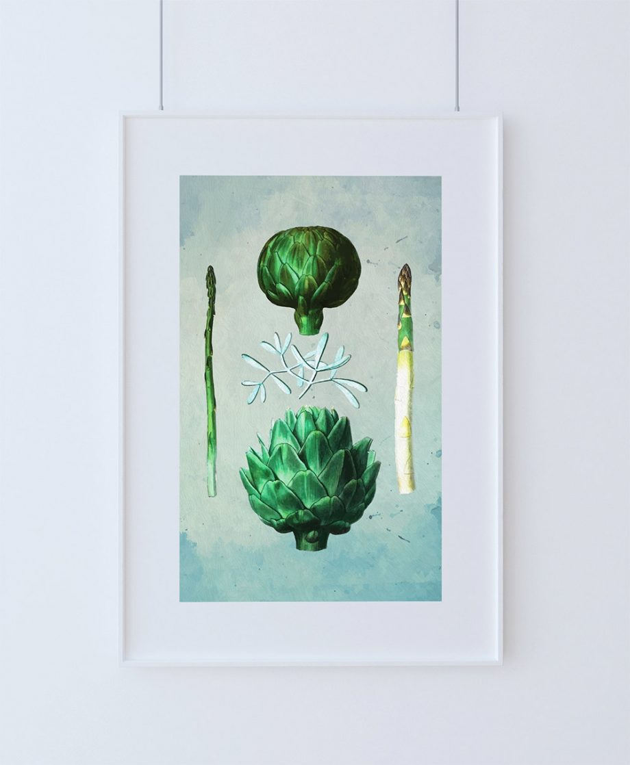 Kitchen Print Kitchen Decor Artichoke & Asparagus Rustic Farmhouse Giclee Vegan Print Vegetable Print on Cotton Canvas and Satin Photo Paper