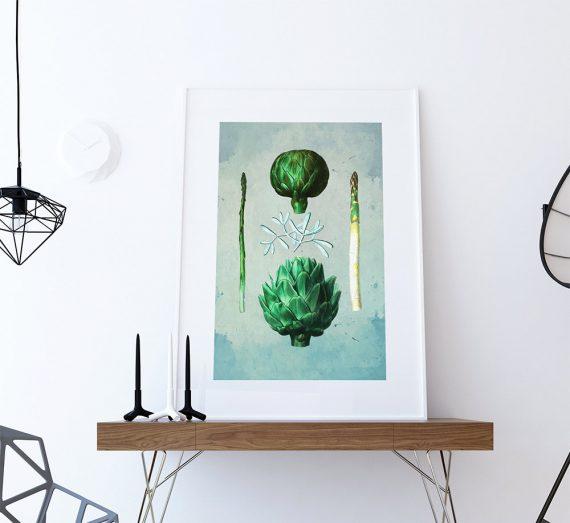 Kitchen Print Kitchen Decor Artichoke & Asparagus Rustic Farmhouse Giclee Vegan Print Vegetable Print on Cotton Canvas and Satin Photo Paper