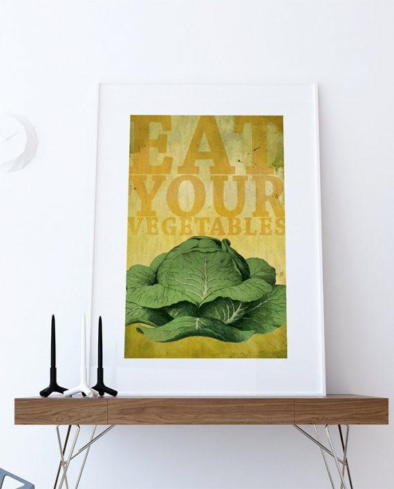 Kitchen Print Kitchen Decor Cabbage Art Rustic Farmhouse Giclee ...