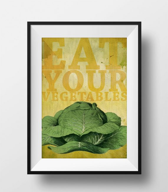 Kitchen Print Kitchen Decor Cabbage Art Rustic Farmhouse Giclee Print on Cotton Canvas and Paper Canvas Poster Home Wall Art