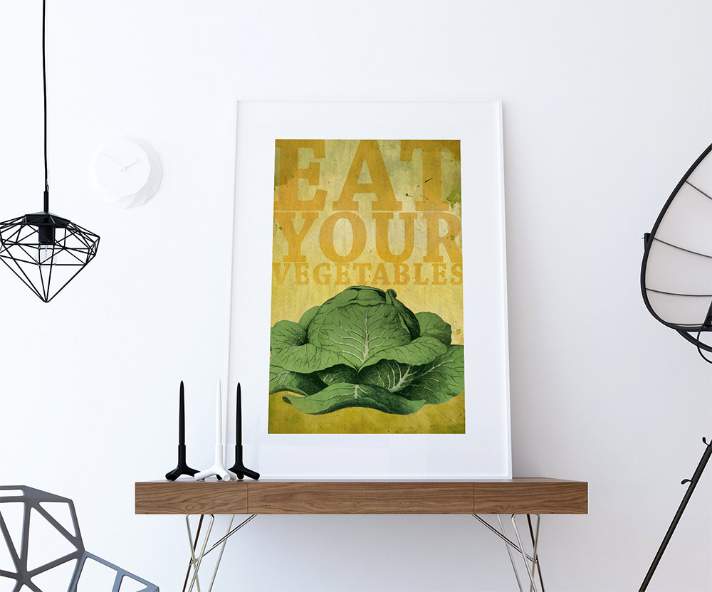 Kitchen Print Kitchen Decor Cabbage Vegetable Art Rustic Farmhouse ...