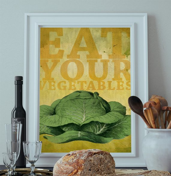 Kitchen Print Kitchen Decor Cabbage Vegetable Art Rustic Farmhouse Giclee Print Poster Home Wall Art on Cotton Canvas and Satin Photo Paper