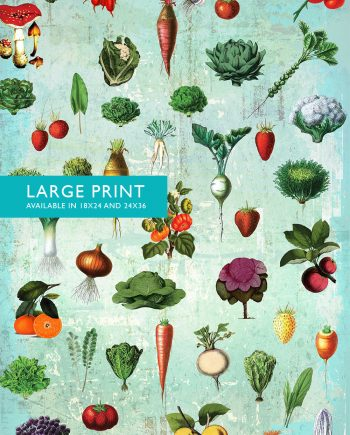 Kitchen Print Kitchen Decor Fruit and Vegetables Rustic Farmhouse Giclee Vegan Print Vegetable Print on Cotton Canvas and Satin Photo Paper