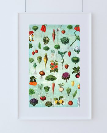 Kitchen Print Kitchen Decor Fruit & Vegetables Art Rustic Farmhouse Giclee Print on Cotton Canvas and Paper Canvas Poster Home Wall Art