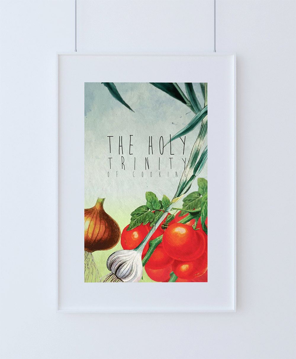 Kitchen Print Kitchen Decor Holy Trinity Of Cooking Art Rustic ...
