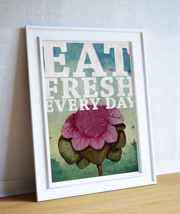 Kitchen Art Red: Kitchen Print Kitchen Decor Red Cabbage Art Rustic