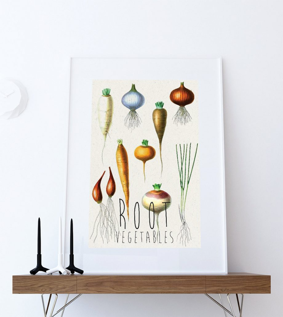 Kitchen Print Kitchen Decor Root Vegetables Rustic Farmhouse Giclee Vegan Print Vegetable Print on Cotton Canvas and Satin Photo Paper