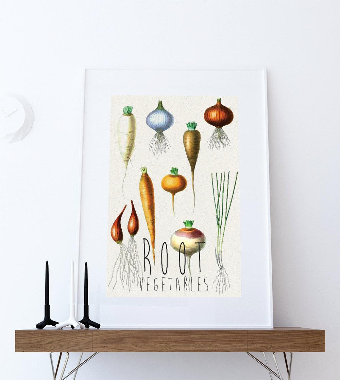 Kitchen Decor Vegetables: Kitchen Print Kitchen Decor Root Vegetables Rustic