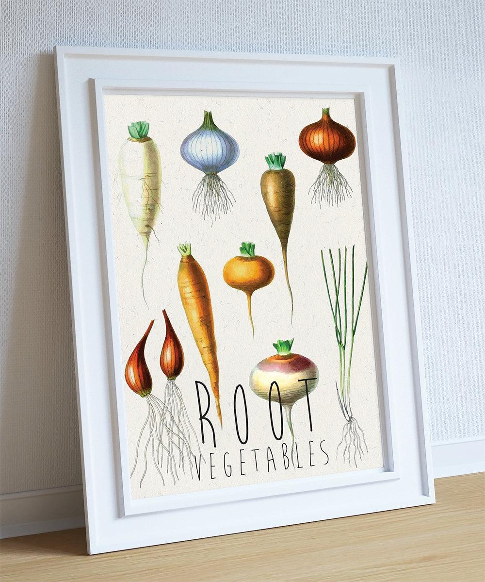 Kitchen print kitchen decor root vegetables rustic for Kitchen art decor
