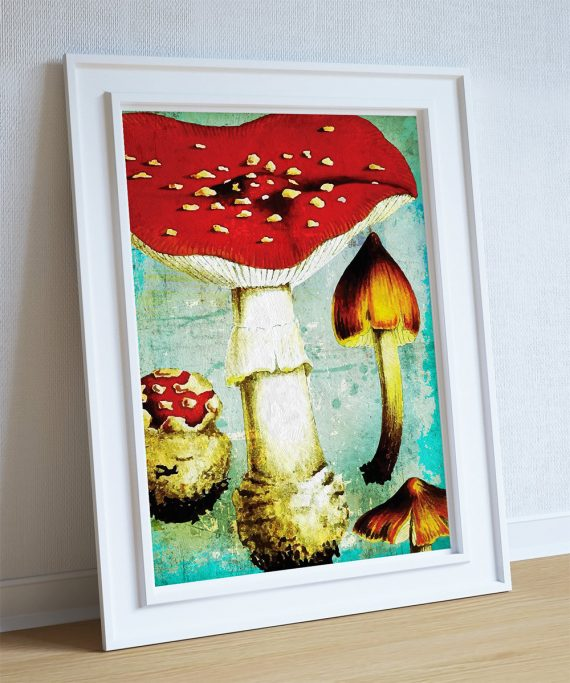 Kitchen Print Kitchen Decor Vintage Mushroom Art Rustic Farmhouse Giclee Print on Cotton Canvas and Paper Canvas Poster Home