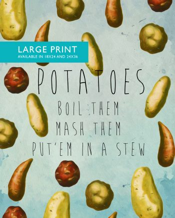 Kitchen Print Potatoes Art Rustic Kitchen Farmhouse Print on Cotton Canvas and Satin Photo Paper