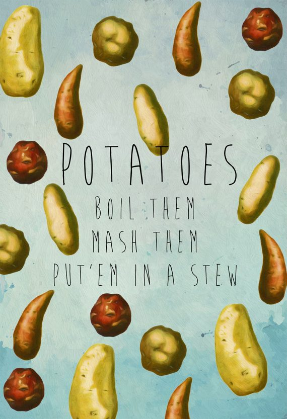Kitchen Print Potatoes Art Rustic Kitchen Farmhouse Print on Cotton Canvas and Satin Photo Paper