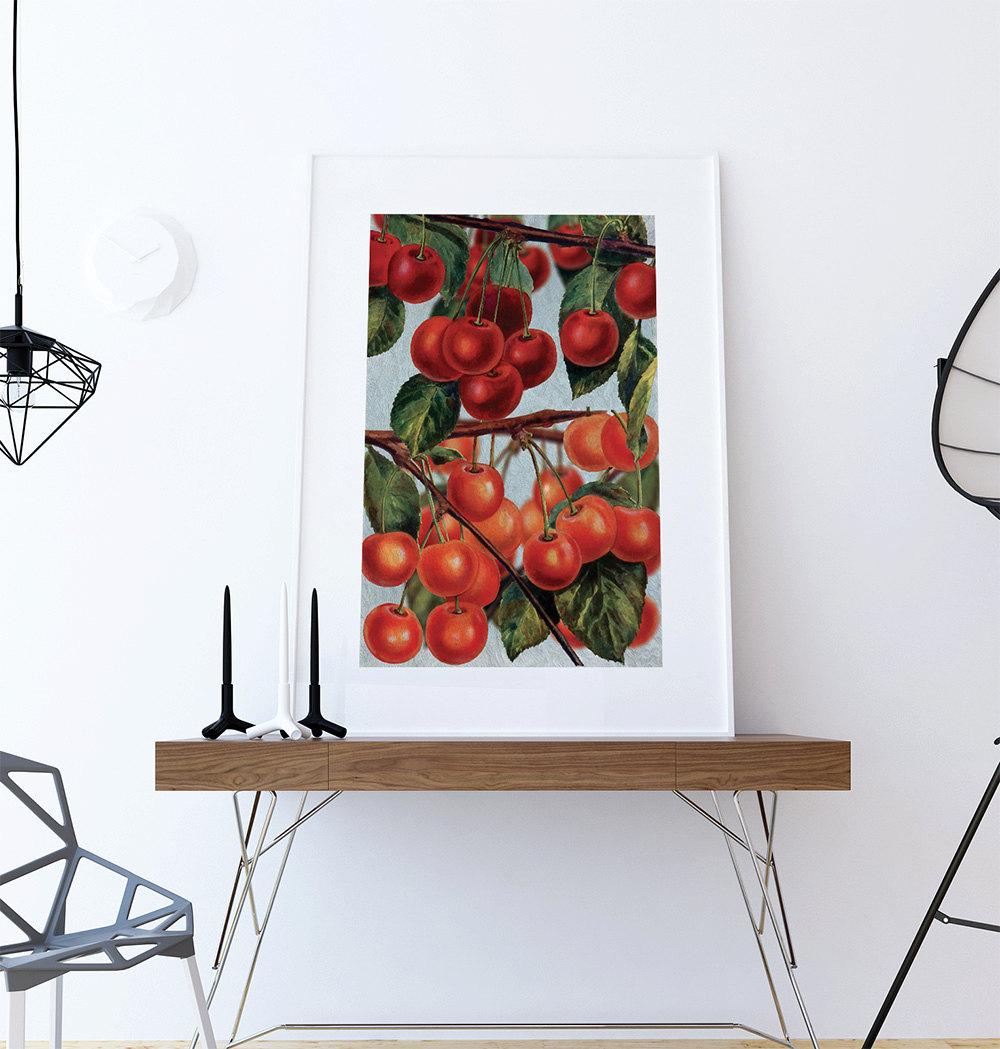 Retro Kitchen Art: Kitchen Wall Art Cherries Print Kitchen Print Food