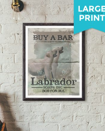 Labrador Soaps Original Illustration Vintage Style Shabby Chic Golden Retriever Dog Giclee Large Print Satin & Cotton Canvas Home Wall Decor