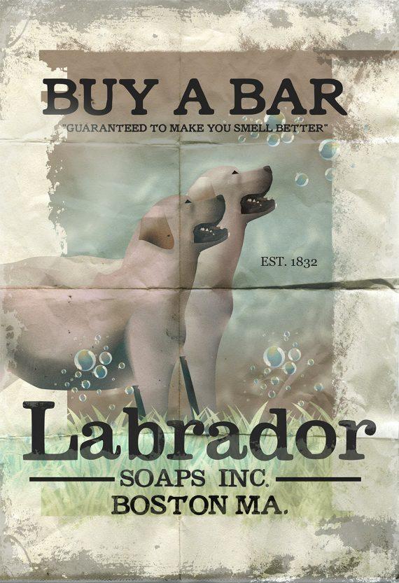 Labrador Soaps Original Illustration Vintage Style Shabby Chic Golden Retriever Dog Giclee Large Print Satin & Cotton Canvas Home Wall Decor