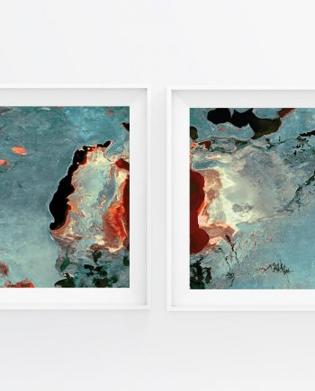 Large Abstract Art 2-Set Print Aerial Satellite Photography Multispectral Image Modern Art Large Giclee Wall Hanging Cotton Canvas or Satin