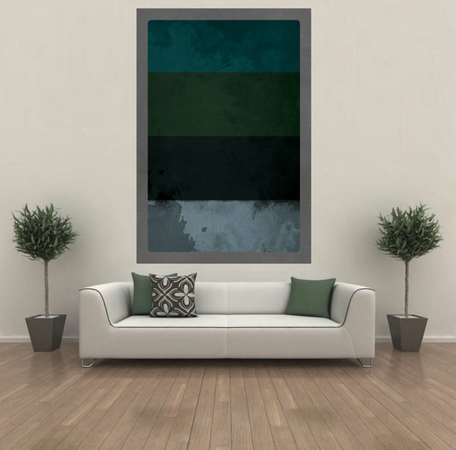 Large Giclee Print abstract Vintage Decor Blue,Green, Black, Grey Wall Art on Cotton Canvas and Satin Photo Finish