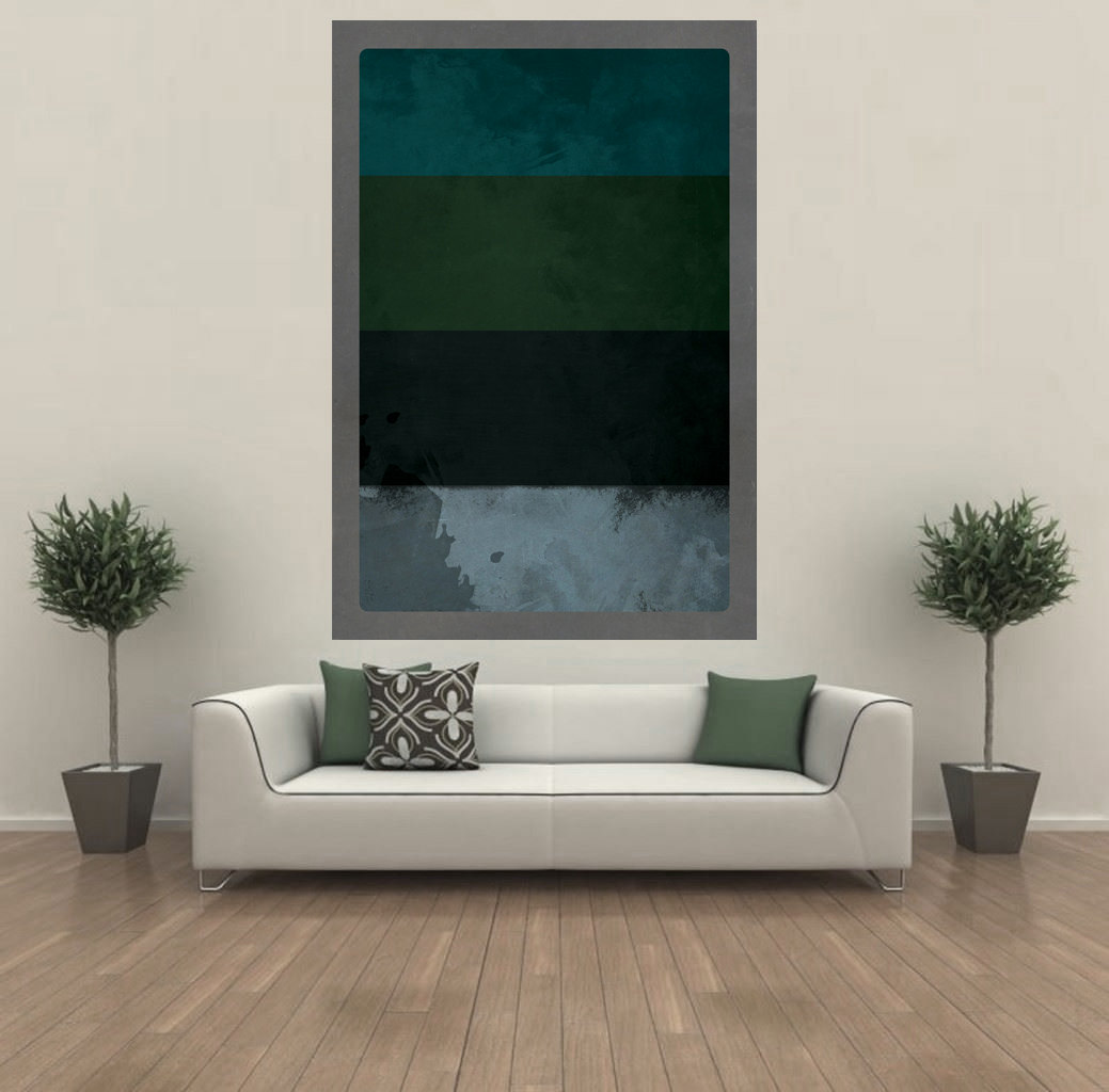 Large Giclee Print Abstract Vintage Decor Blue Green