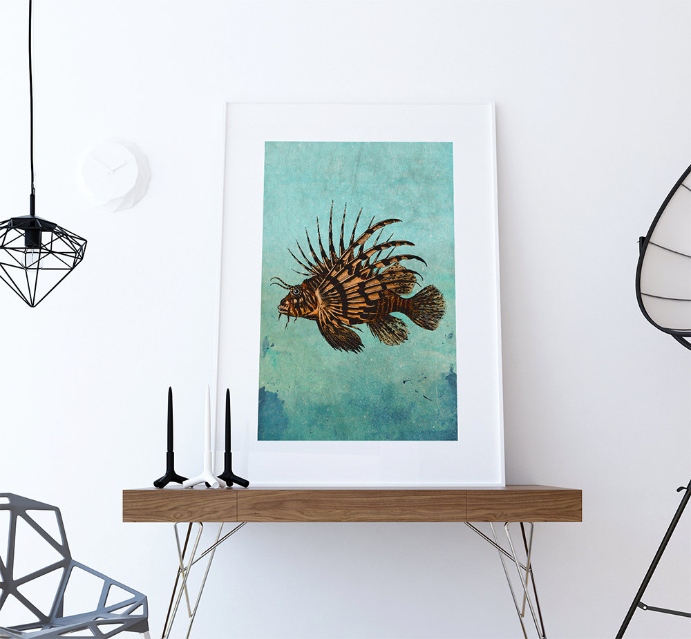 Lion fish print vintage nautical decor ocean wall art for Vintage ocean decor