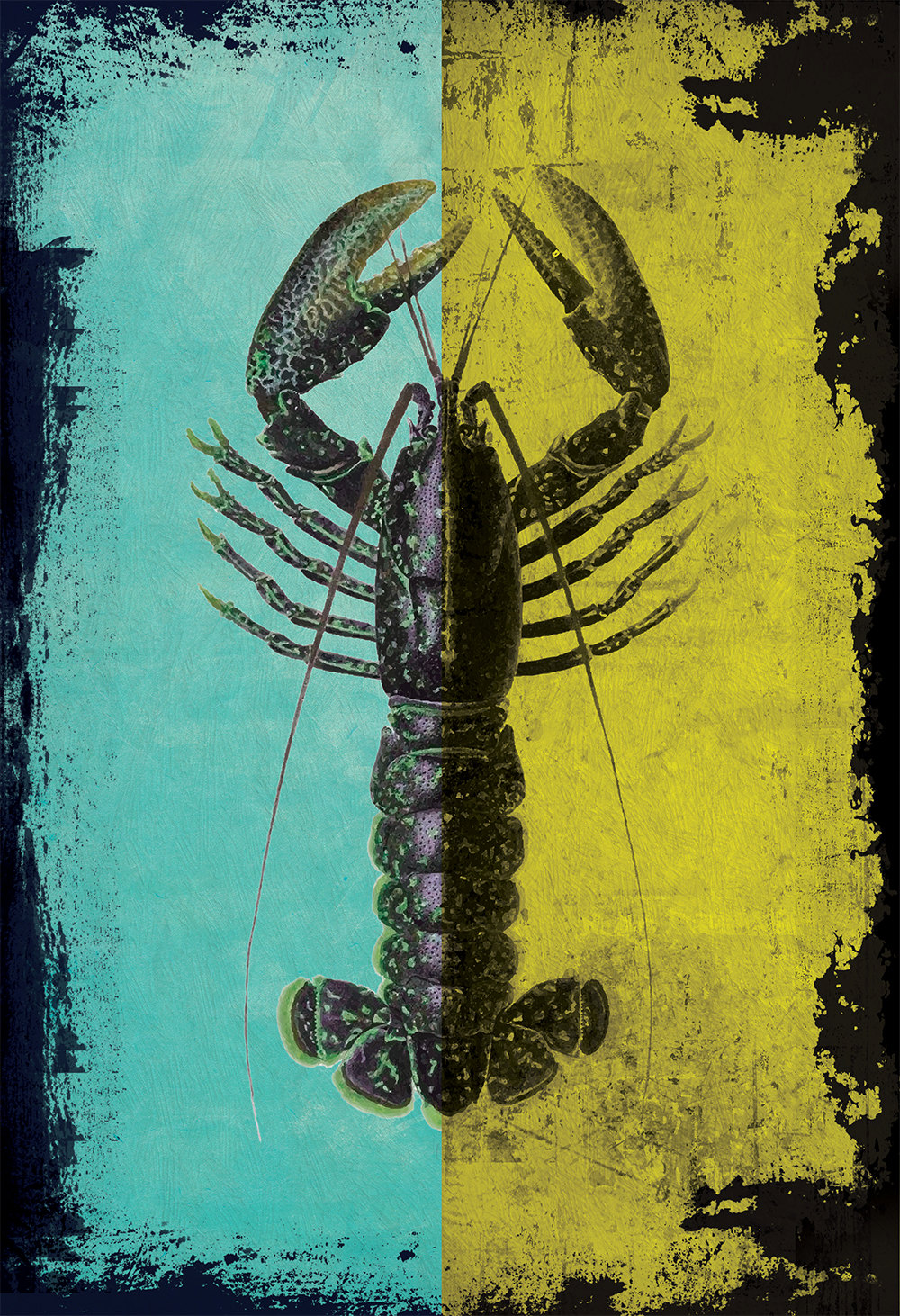 Lobster print vintage nautical decor ocean wall art for Vintage ocean decor