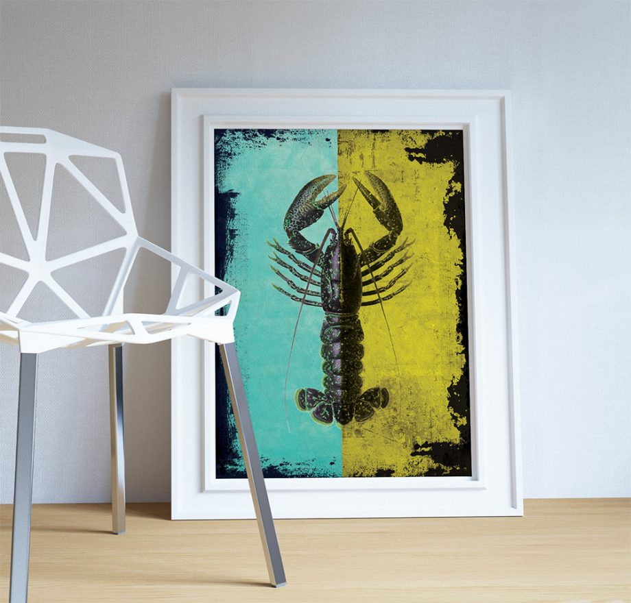 Lobster Print Vintage Nautical Decor Ocean Wall Art - Giclee Print on Cotton Canvas and Paper Canvas