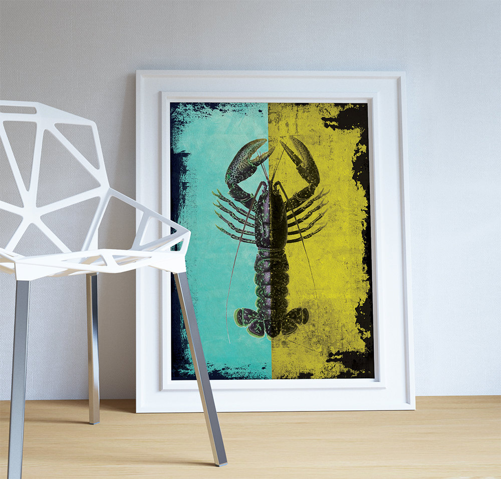 Lobster print vintage nautical decor ocean wall art - Vintage inspired wall art ...