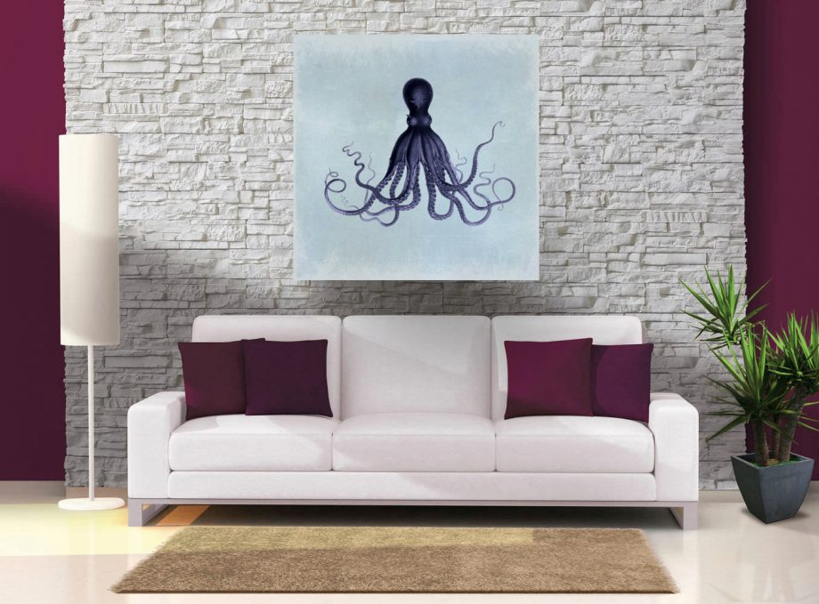 """Lord Bodner's Octopus 24x24"""" Art Print Sea Squid Vintage Nautical Decor Ocean Wall Art - Giclee Print on Cotton Canvas and Satin Photo Paper"""